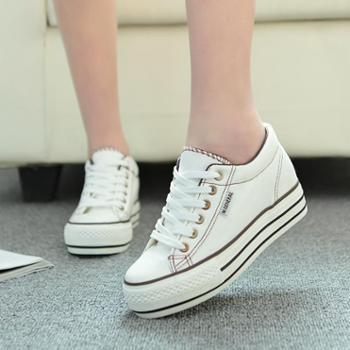 名将2014秋季新款韩版低帮浅口厚底板鞋潮内增高经典款帆布鞋女鞋包邮M6076
