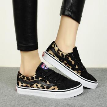 名将秋季韩版潮低帮帆布鞋女鞋豹纹休闲平底单鞋板鞋子6629