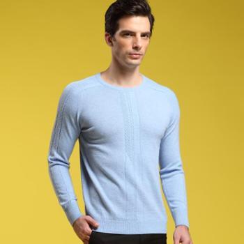 珍贝 2013秋冬新款纯羊绒圆领提花男士针织衫毛衣 休闲 TM122311M