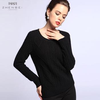 珍贝2013秋冬新款圆领提花加厚时尚休闲羊绒衫TM5078
