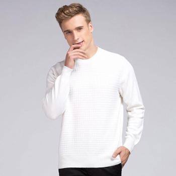 衣锦牧园新款商务休闲男士毛衣套头圆领褶皱纯色羊绒衫男版