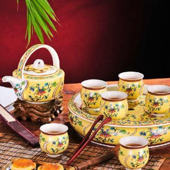 景德镇陶瓷器8头双层茶具套装 带盖茶壶 杯 皇家风情