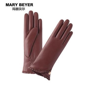 MARYBEYER玛丽贝尔真皮手套女士秋冬薄款触屏羊皮手套加绒加厚分指皮手套女MA5136