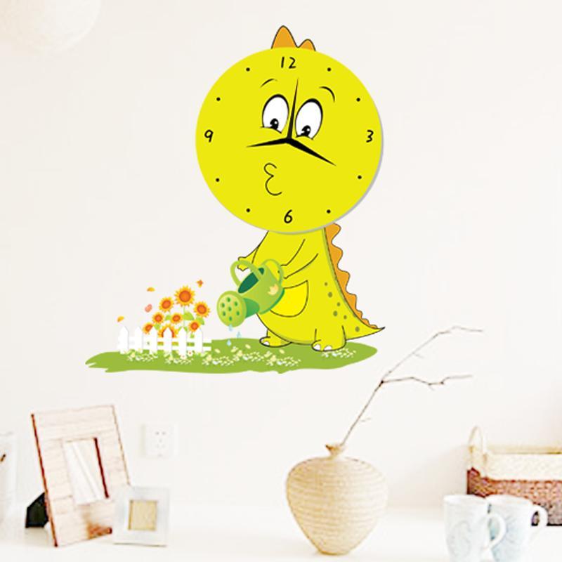 忆美特儿童房卡通墙贴钟 小恐龙浇花 qtz011,善融商务