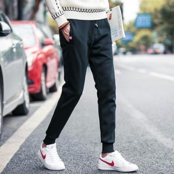 加绒加厚男休闲裤修身时尚韩版束脚裤保暖青年学生长裤潮卫裤VZKZ6198