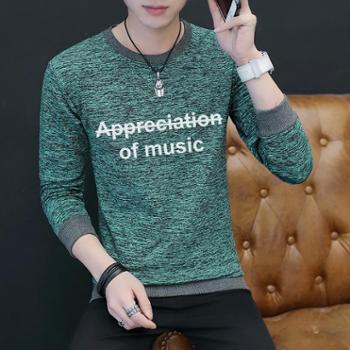 男士卫衣春秋圆领套头上衣服学生韩版潮流长袖T恤W220