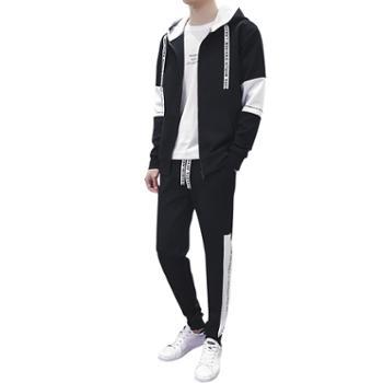 男士卫衣秋季连帽套装韩版潮流帅气外套青少年学生休闲运动一套装DS156