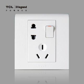 TCL罗格朗开关插座 K5系列一开五孔插座面板 带开关插座电源插座