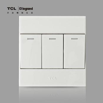 TCL罗格朗开关插座 开关面板 A6系列三开单控 三位单控墙壁开关