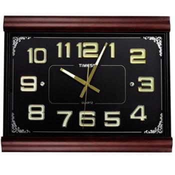 TIMESS挂钟 客厅会议室石英钟夜光静音时钟表实木T2018 26英寸