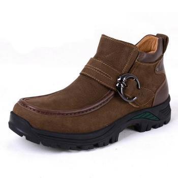 伶羊冬季新款棉靴冬季户外休闲皮靴高帮加毛保暖男靴子