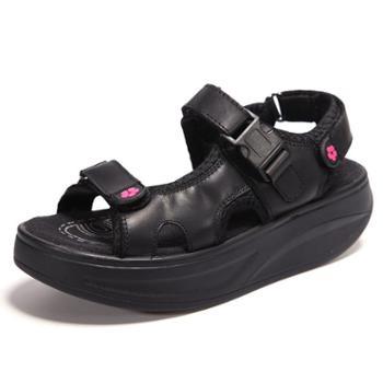 伶羊女凉鞋摇摇鞋厚底瘦身减肥鞋真皮凉鞋女士运动休闲松糕鞋女鞋