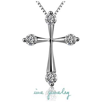 iwe925纯银饰品时尚短款十字架项链女款吊坠镶嵌瑞士钻送锁骨链