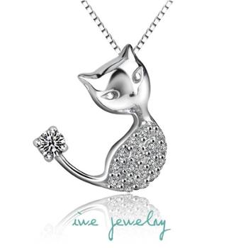 iwe 925纯银项链女韩版时尚可爱小猫咪吊坠短款锁骨链送礼物女友