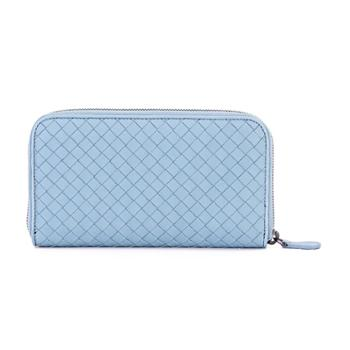 BottegaVeneta宝缇嘉女式蓝色羊皮长款拉链钱夹114076V001N4713