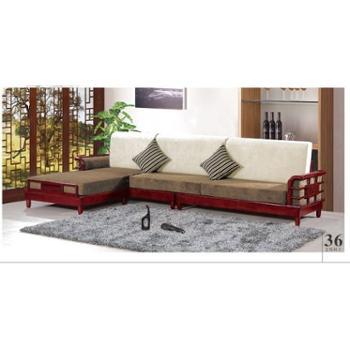 博森家具实木沙发现代简约客厅转角沙发