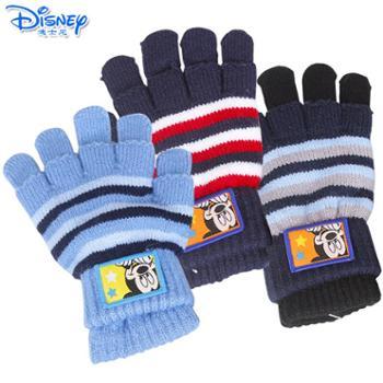 Disney/迪士尼 儿童手套冬款五指保暖手套男女童宝宝两用五指全指针织手套DS00136