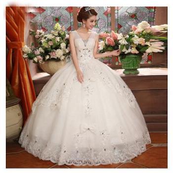 2014新款双肩白色婚纱新娘蕾丝高档韩版复古时尚女装婚纱礼服