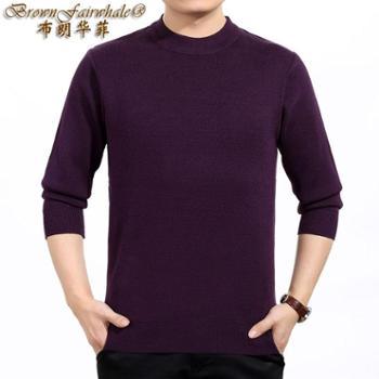 布朗华菲男士毛衣中老年羊绒羊毛混纺圆领V领纯色针织衫38858