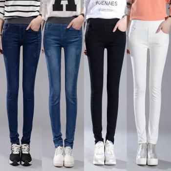 女士长裤子松紧腰牛仔裤 韩版女装小脚铅笔裤