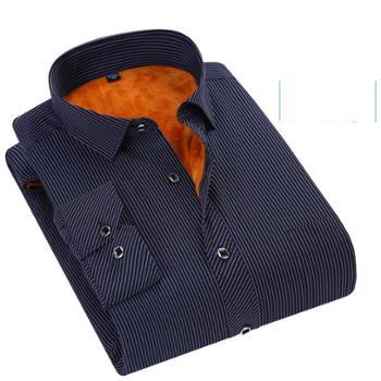新款男装保暖衬衫保暖衬衣不起球加绒加厚男士长袖衬衫休闲衬衣2610
