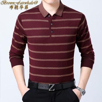 布朗华菲 新款男士丝光羊毛长袖T恤翻领中年条纹针织杉T恤衫82309