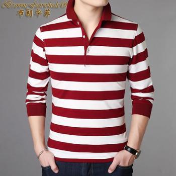 布朗华菲新款男士长袖T恤条纹翻领中青年薄款丝光T恤衫828