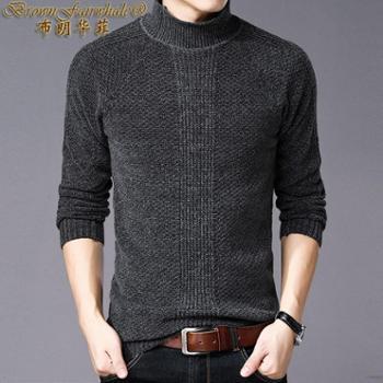 布朗华菲新款高领纯色羊绒羊毛衫长袖套头男士针织衫厚款毛衣3388