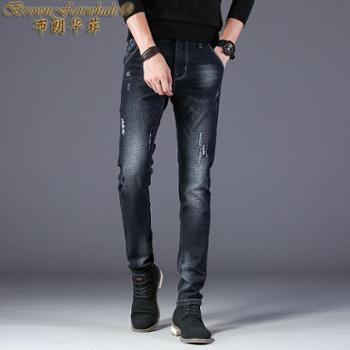 布朗华菲 新款男士牛仔裤修身薄款休闲青年韩版长裤1033