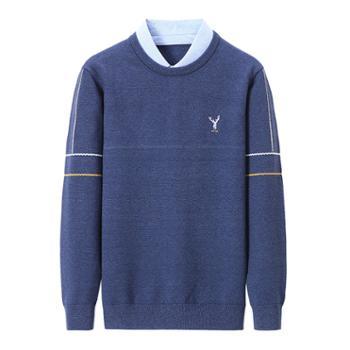 布朗华菲衬衫领长袖休闲毛衣中年男士假两件针织衫895