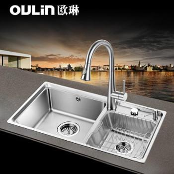 欧琳水槽双槽套餐台控水槽仿手工槽304不锈钢厨房洗菜盆洗碗池含抽拉龙头双槽水槽