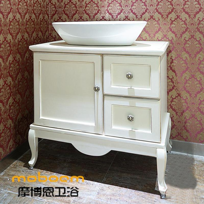 复古古典白色做旧台上盆欧式进口橡木浴室柜面盆组合