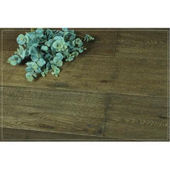 【四合地板】三层白栎手工刨仿古色半封闭企口