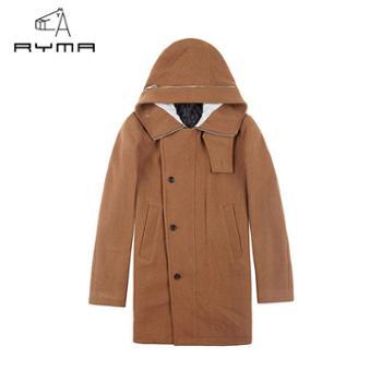 RYMA正品新款冬装 时尚休闲连帽毛呢外套男 欧美风潮男羊毛呢大衣