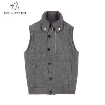 RYMA正品冬装新款棉马甲 时尚修身男棉马夹外套 帅气男背心马甲