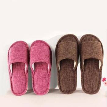 日式纯色棉麻拖鞋 亚麻拖鞋 情侣居家地板静音拖鞋