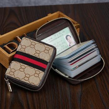 DUER卡包女士帆布牛皮风琴拉链条纹撞色大容量女卡片包零钱包