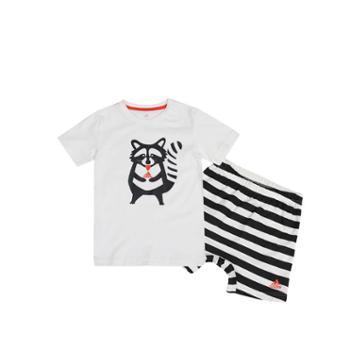 adidas阿迪达斯童装2017夏新款男婴童小浣熊T恤短裤套装BK3008