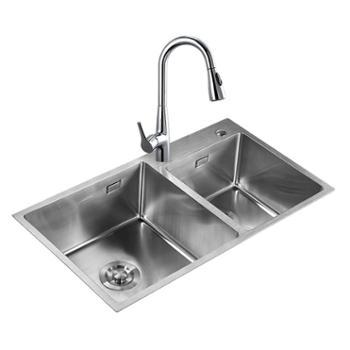 JOMOO九牧不锈钢水槽双槽套餐抽拉龙头手工双槽厨房洗菜盆06159