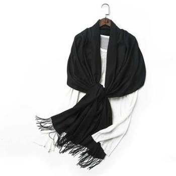 橘语羊绒真丝混纺沙滩可爱气质围巾女披肩纯色空调春秋冬季保暖薄