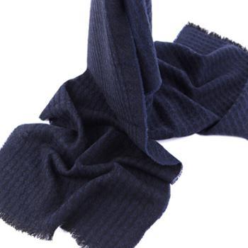 橘语新款纯羊毛小提花深灰蓝色沙滩披肩围巾女