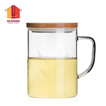 sohome风尚竹木系个人杯耐热玻璃水杯透明玻璃办公杯创意带盖