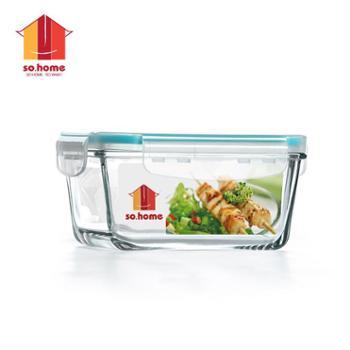 sohome 耐热玻璃保鲜盒 玻璃碗便当盒 700ml