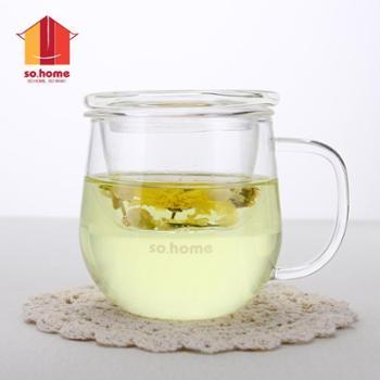 sohome 茗佳玻璃花茶杯 女士玻璃杯透明创意可爱花茶杯