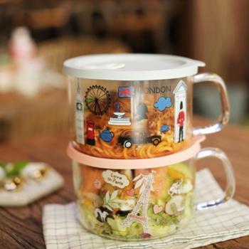sohome耐热玻璃硅胶盖多用碗泡面碗带盖便当盒高温饭盒圆形把手