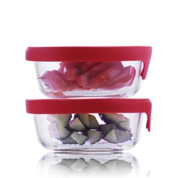 sohome红色维达硅胶盖耐热玻璃保鲜盒两件套饭盒餐盒储物盒玻璃碗套装