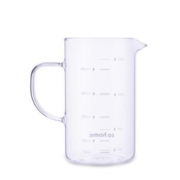 sohome儿童牛奶玻璃杯量杯带刻度水杯酸奶杯刻度杯牛奶杯早餐杯500ML