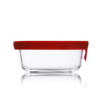 sohome红色维达硅胶盖耐热玻璃保鲜盒饭盒餐盒储物盒玻璃碗单只350ML