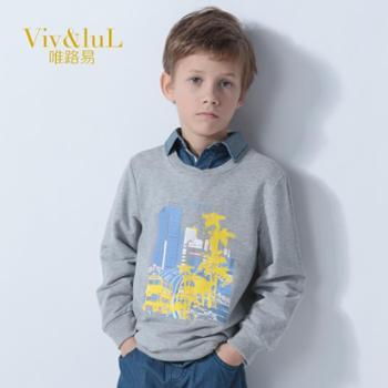唯路易(Viv&luL)童装2014春装新款中大儿童长袖t恤男童纯棉打底衫宝宝长袖韩版T恤