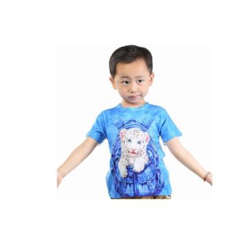 优乐小猪童装3D男童短袖T恤纯棉儿童宝宝2014夏装新款背包虎上衣